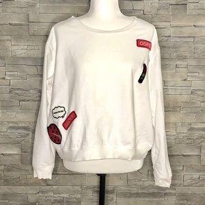 Forever 21+ white sweatshirt with appliqués
